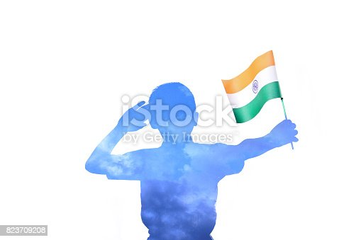 istock Indian Flag in child hand 823709208