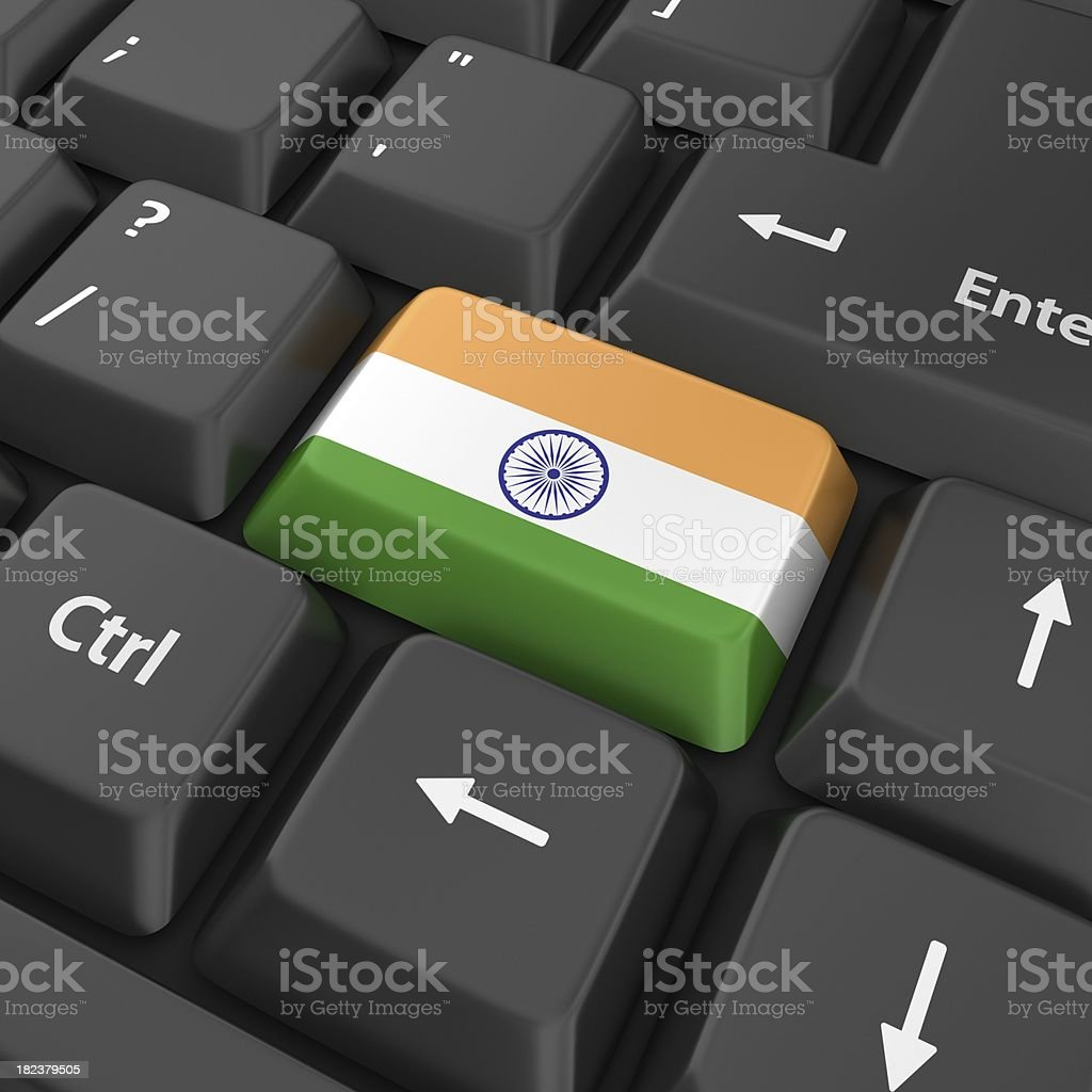 indian flag on computer key stock photo