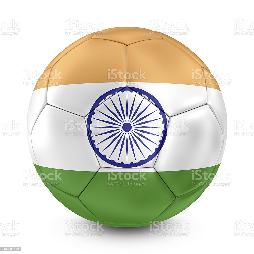 indian flag on football royalty-free stock photo