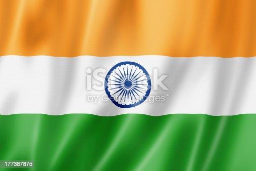 India flag, three dimensional render, satin texture