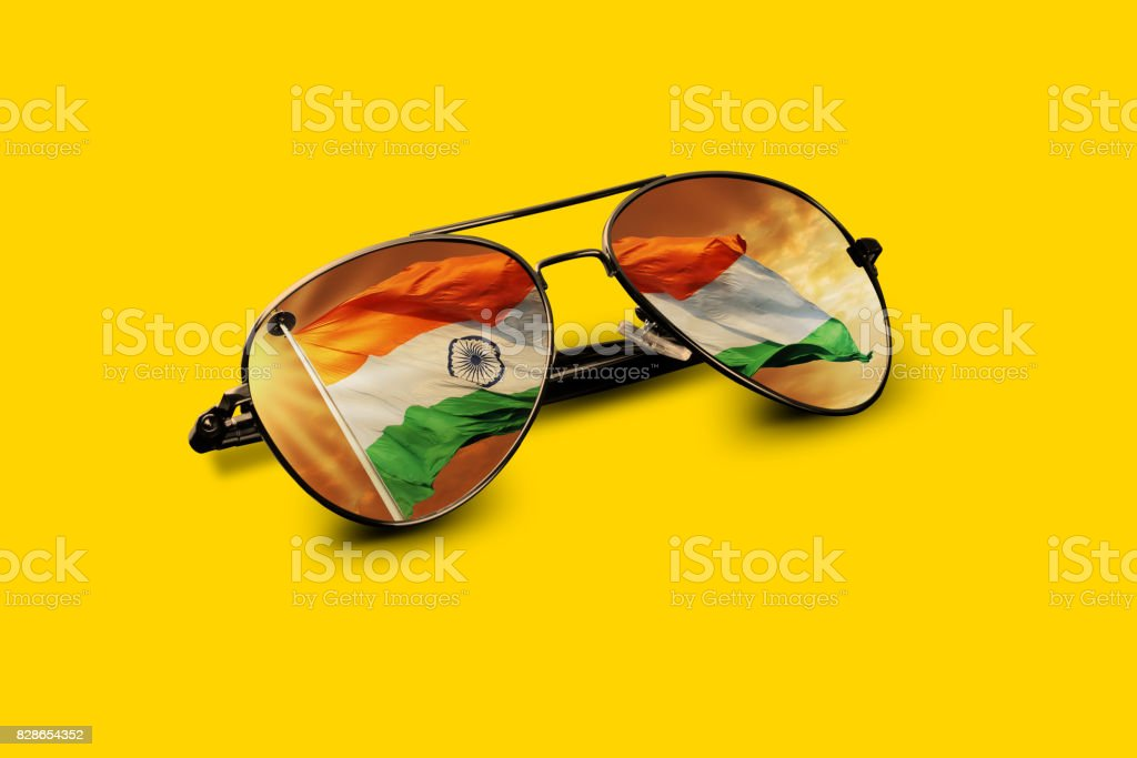 Indian Flag Reflected on Aviator Sunglasses stock photo