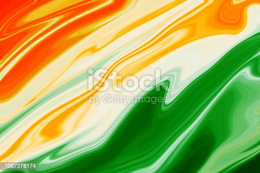 istock Indian Flag Tricolor Painted With Fluid Art Texture As background 1067278174