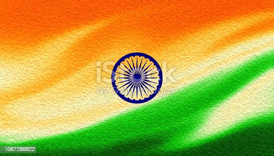 istock Indian Flag Tricolor Painted With Fluid Art Texture As background 1067286922