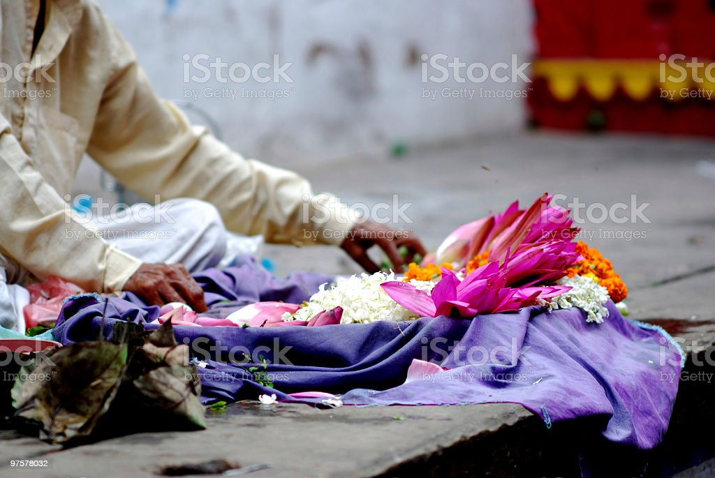 Indian florist on the street for Traditional Ceremony royalty-free stock photo