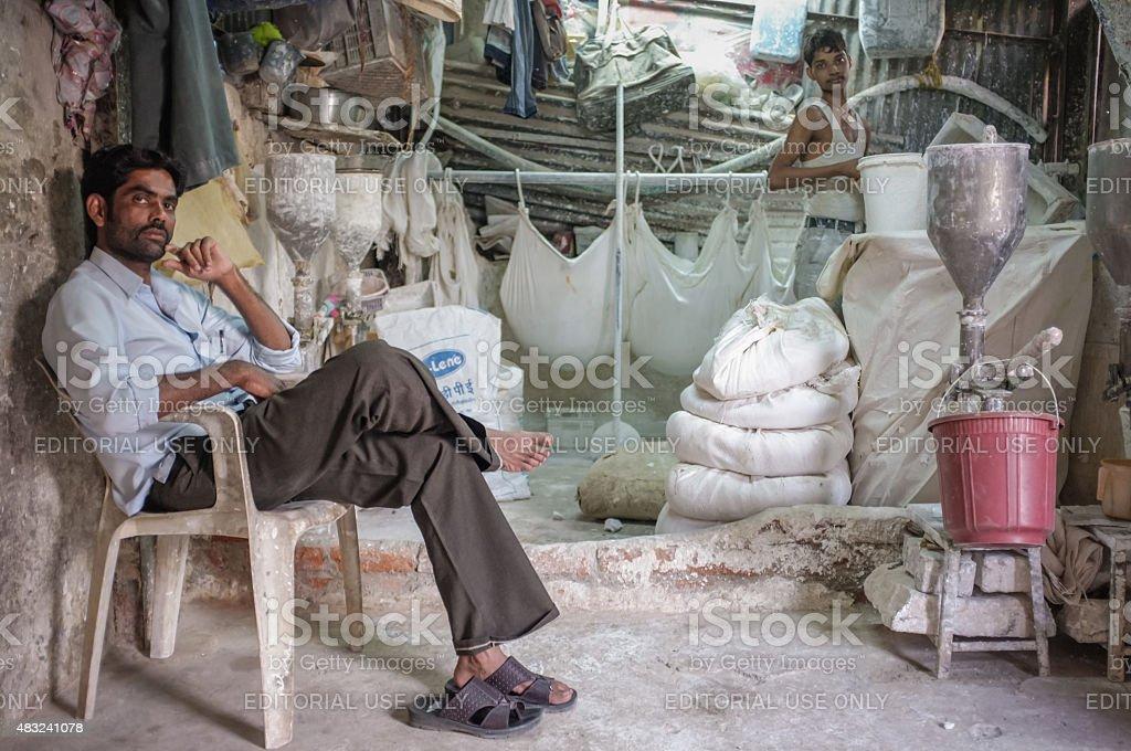 Indian flour factory stock photo