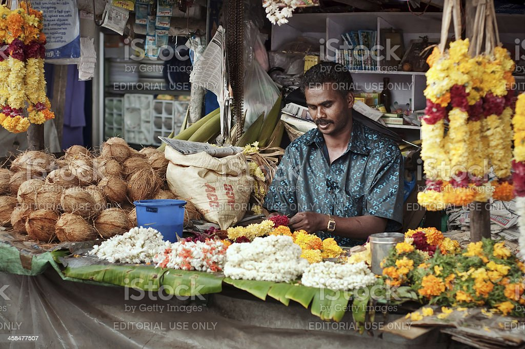 Indian flower vendor stock photo