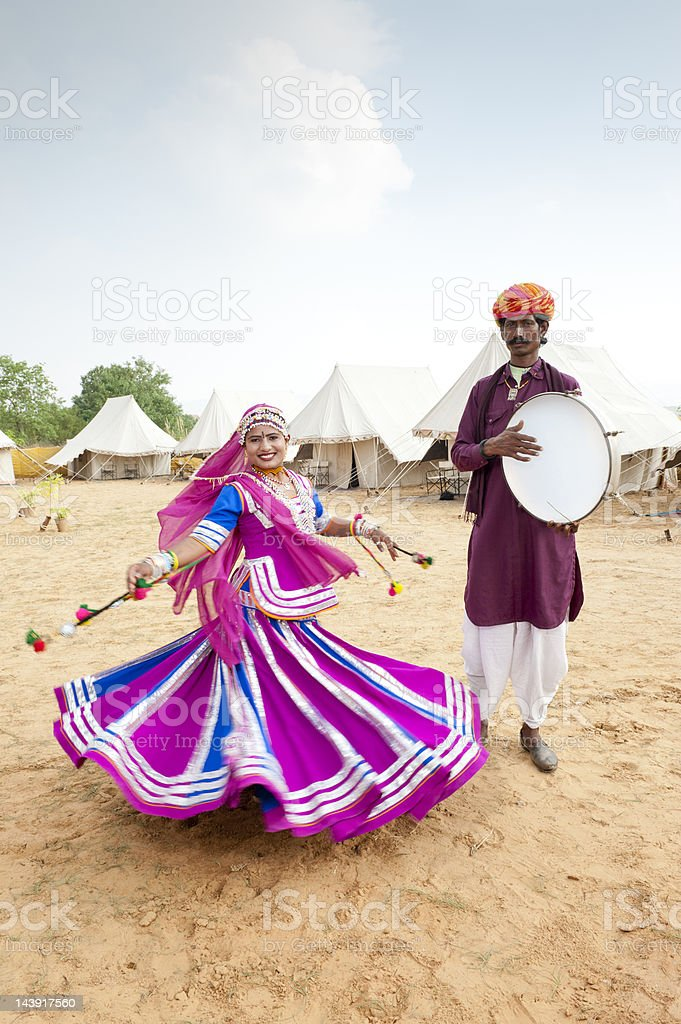 Indian Folk Dancer and Musician stock photo