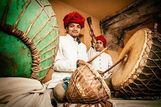 Indian Folk Music Indian Musicians playing in Amber Fort, Jaipur. India. folk music stock pictures, royalty-free photos & images