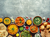 istock Indian food and indian cuisine dishes, copy space 1143693055
