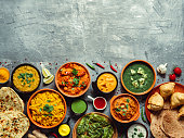 istock Indian food and indian cuisine dishes, copy space 1163780169