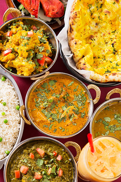 Indian food: assortments of dishes stock photo