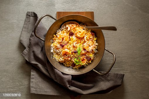 istock Indian food biryani with basmati rice and shrimp 1253232810