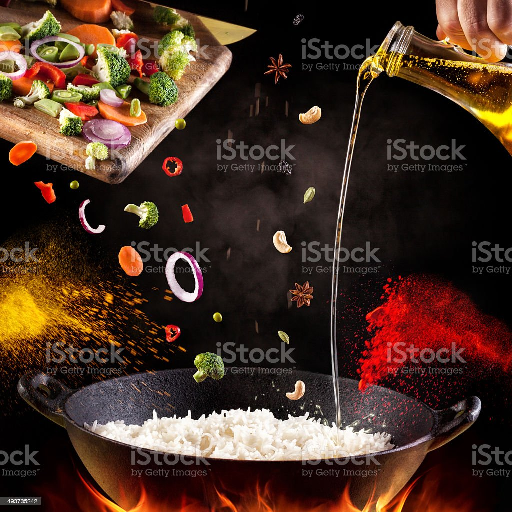 Indian food cooking stock photo