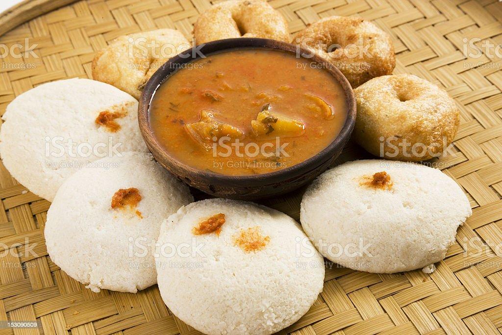 Indian food idli and vada with sambar stock photo