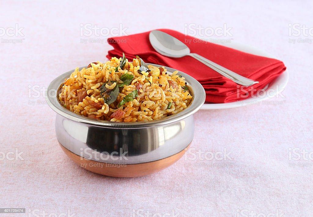 Indian Food Tamarind Rice stock photo