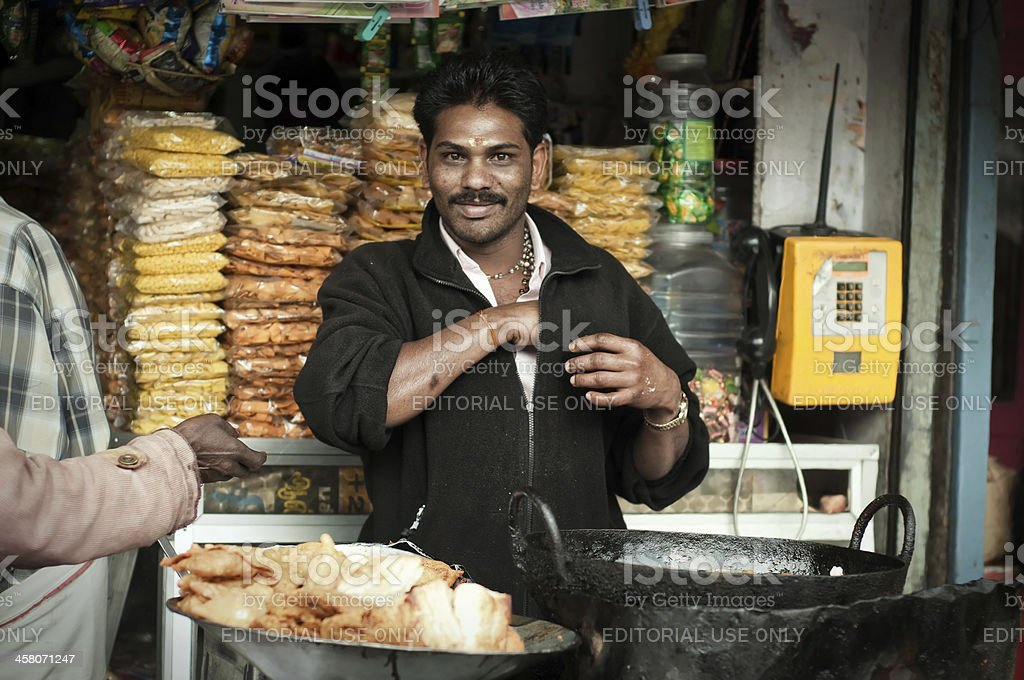 Indian food vendor stock photo