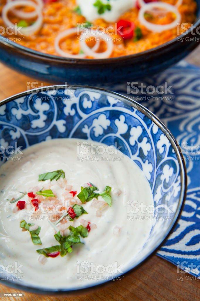 Indian Fresh Mint Raita stock photo