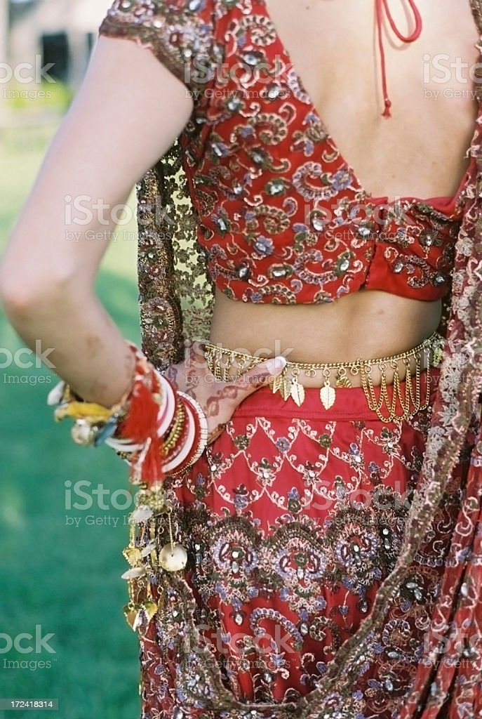 Indian from the back woman with henna royalty-free stock photo