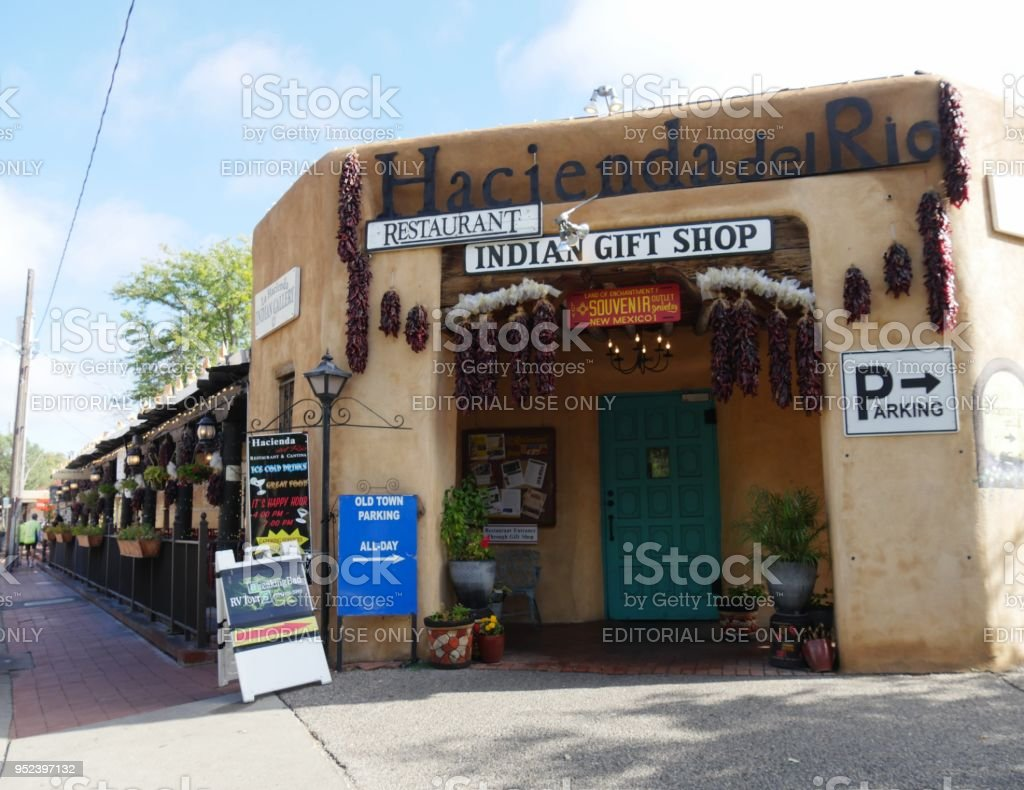 Indian gift shop and restaurant at the Old Town in Albuquerque stock photo