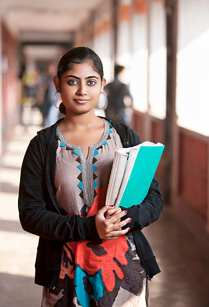 Indian girl in the University stock photo