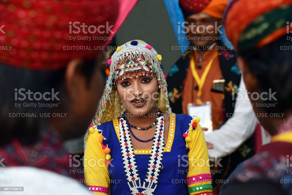 Indian girl in traditional Rajasthani dress. stock photo
