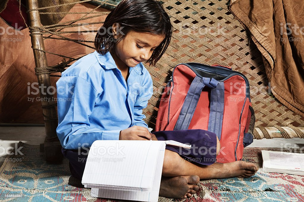 indian girl learning stock photo