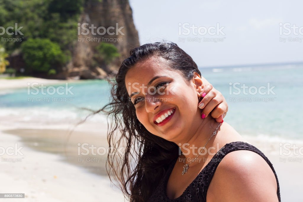 Indian girl on Beach stock photo