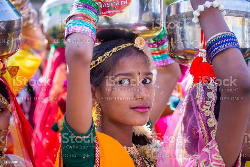 Indian Girl Wearing Traditional Rajasthani Dress Participate In Desert Festival In Jaisalmer Rajasthan India
