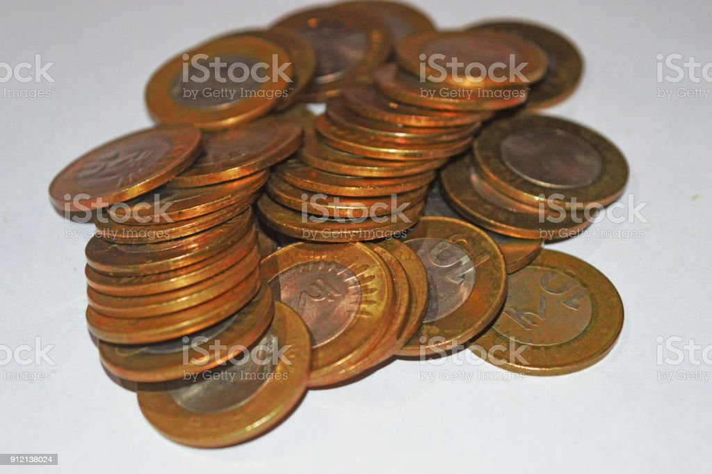 Indian golden coins stock photo