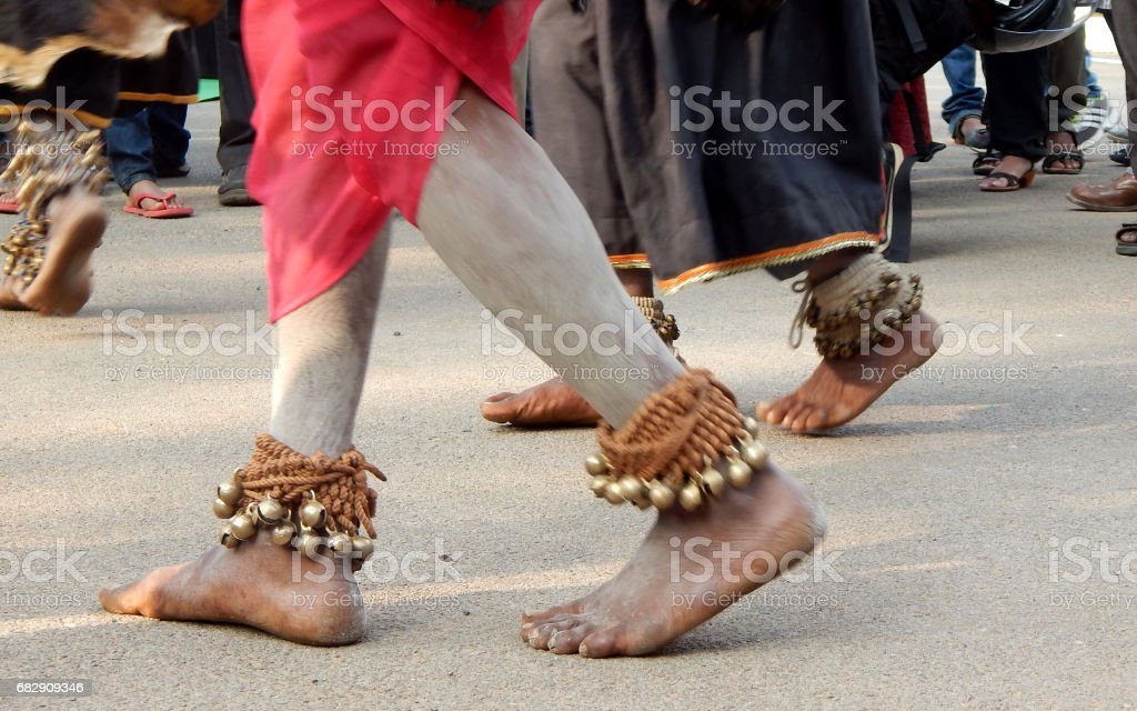 Indian gond tribals performing Ghussadi dance, associated with farming to pray goddess with tribal music stock photo