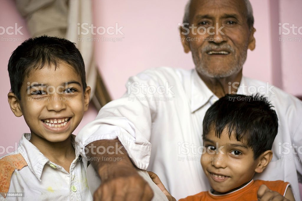 Indian Grandfather with his two Grandsons royalty-free stock photo