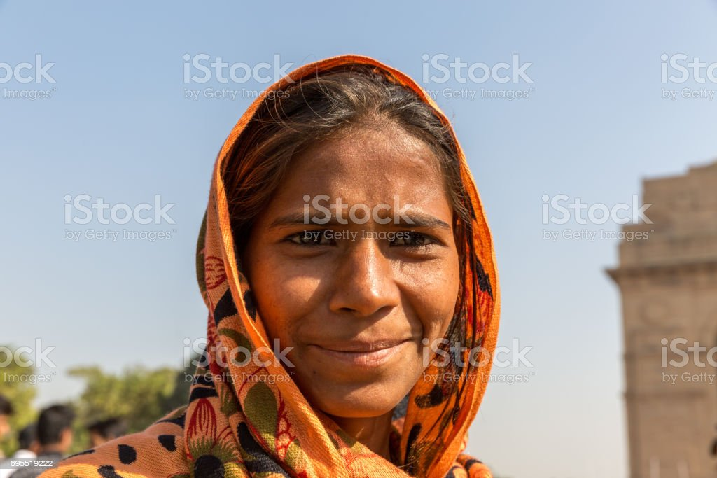 Indian gypsy girl, New Delhi, India stock photo