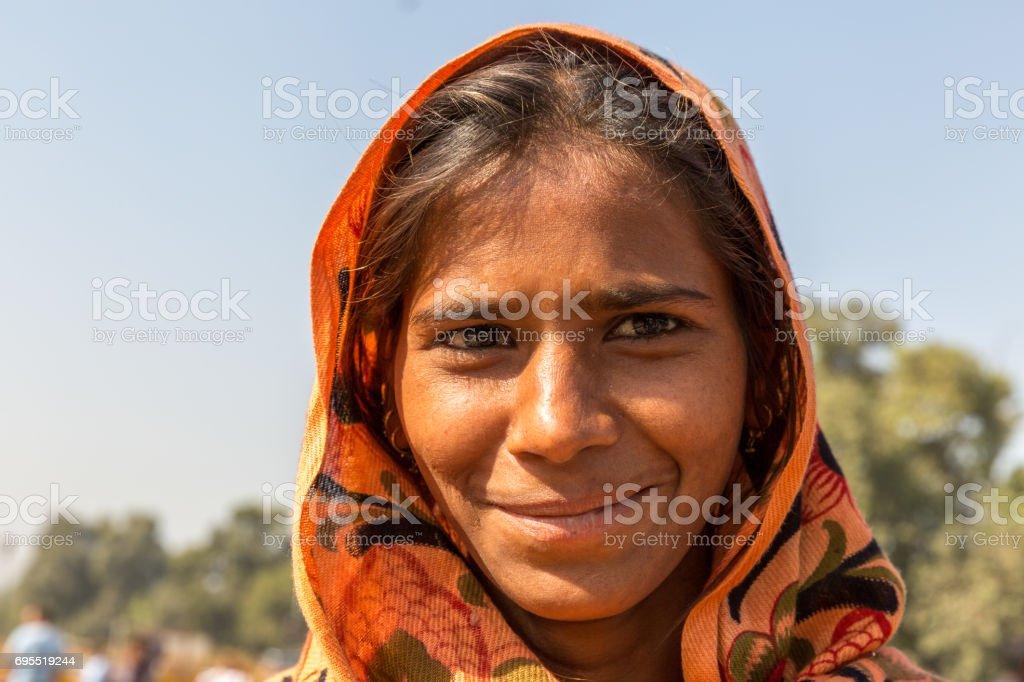 Indian gypsy girl, New Delhi, India stock photo