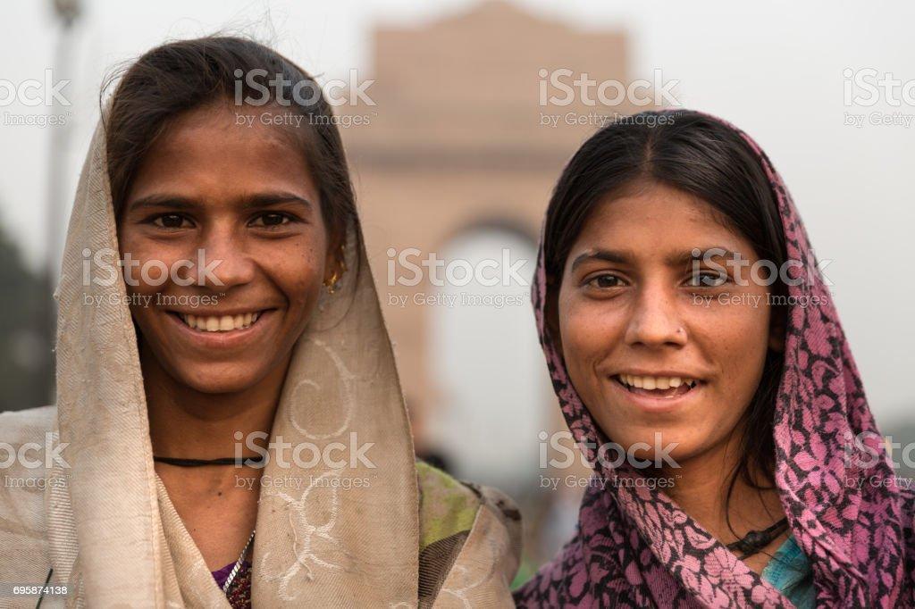 Indian gypsy girls, New Delhi, India stock photo