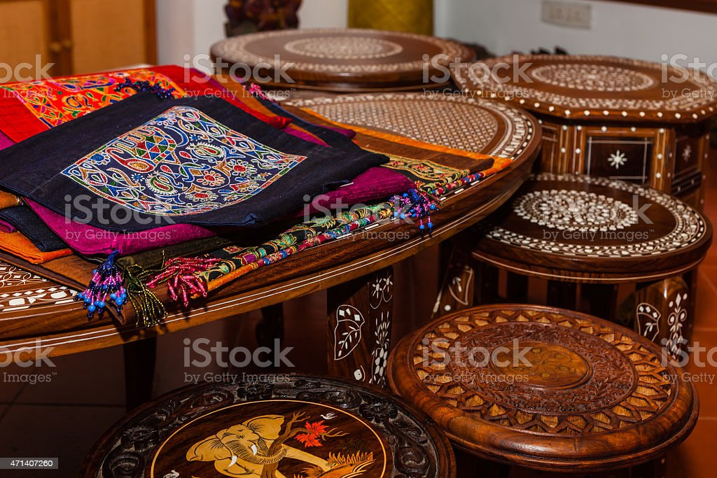 Indian handicraft for sale stock photo
