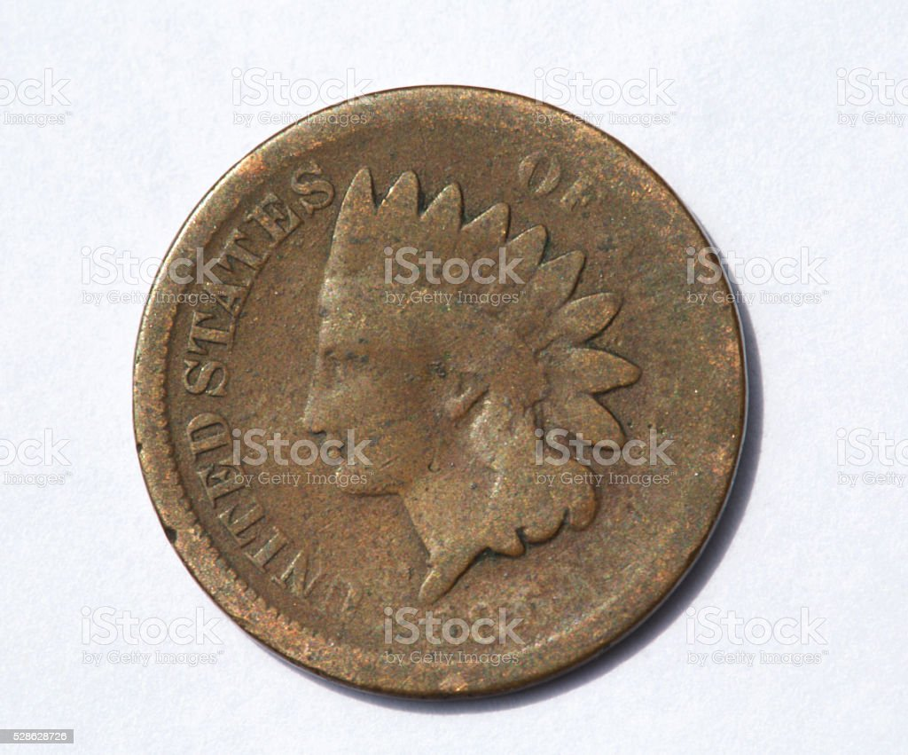 indian head penny from the late 1800's stock photo