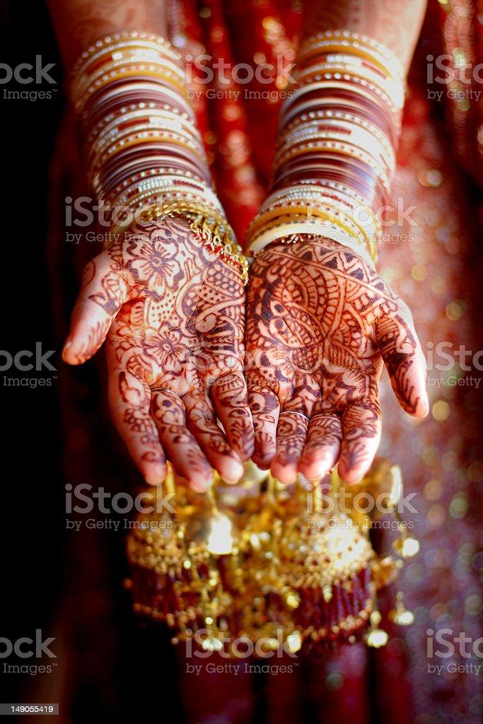 Indian Henna Hands stock photo