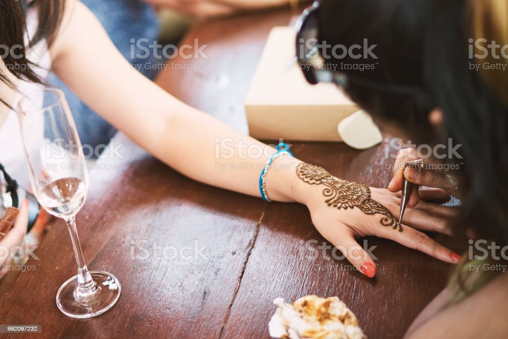 Indian Henna Tattoo Artist Drawing The Uniqueness Line Art On The