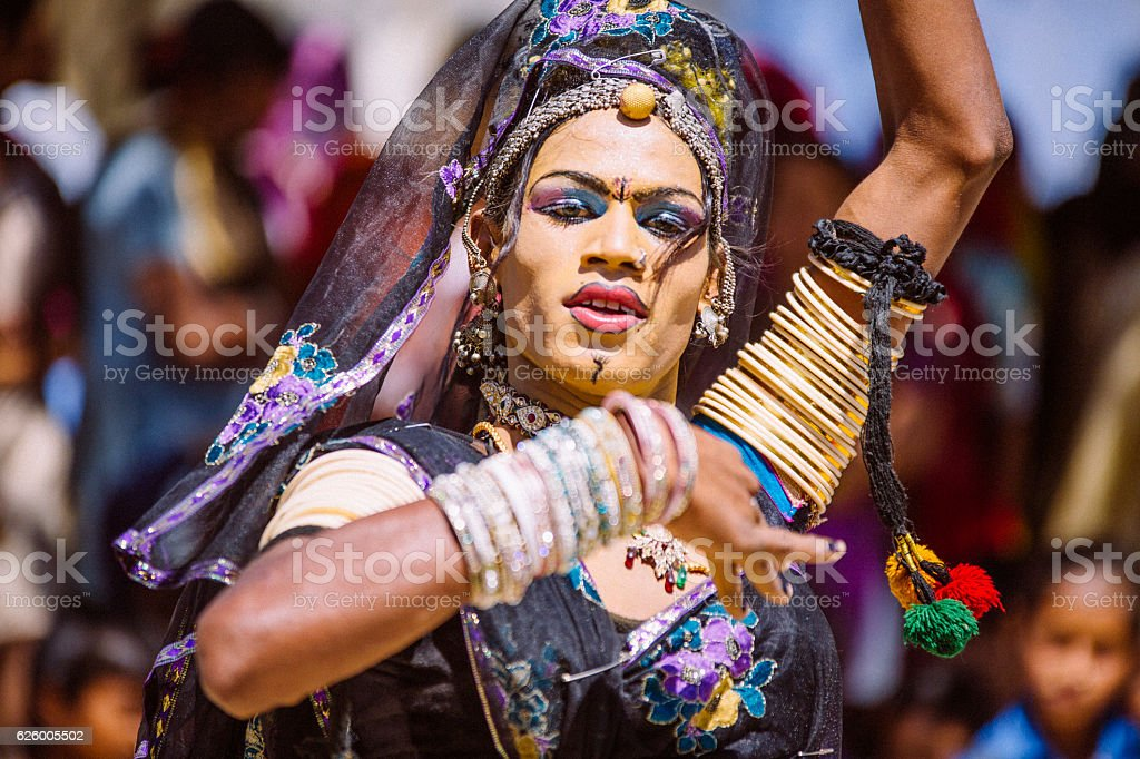 Indian Hijra dancer stock photo