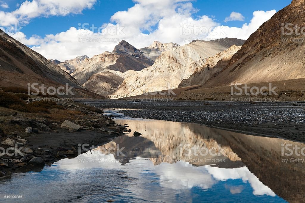 Indian himalayas - mountain and river in Rupshu valley stock photo