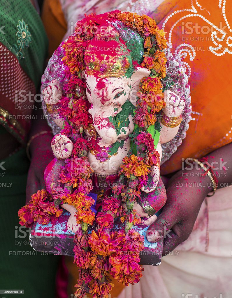 Indian Hindu Devotees carry Ganesh Idol royalty-free stock photo