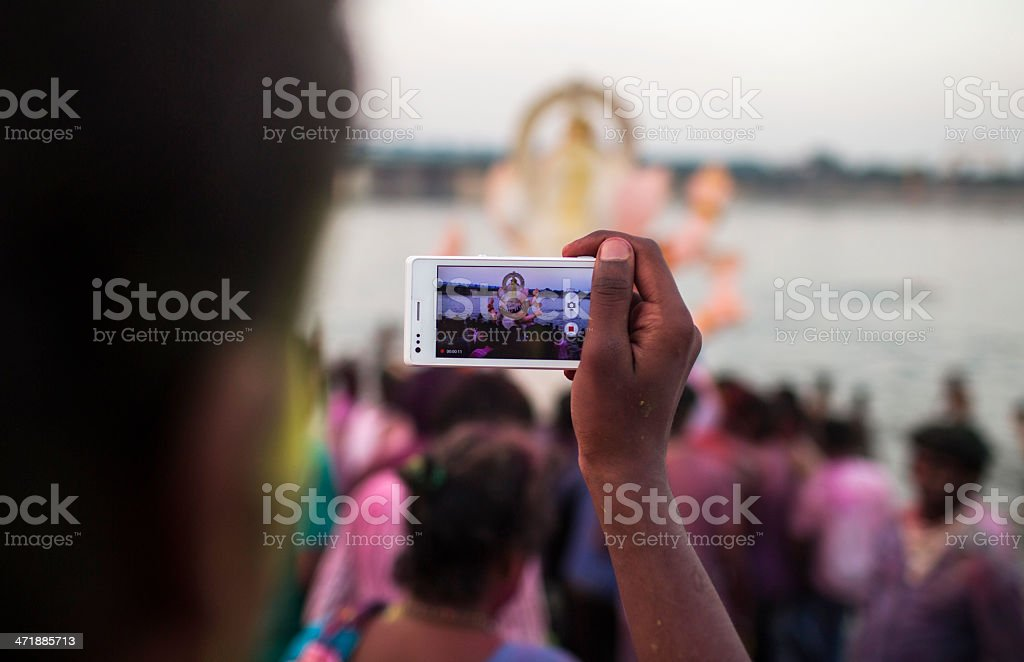 Indian Hindu Devotees carry Ganesh Idol stock photo