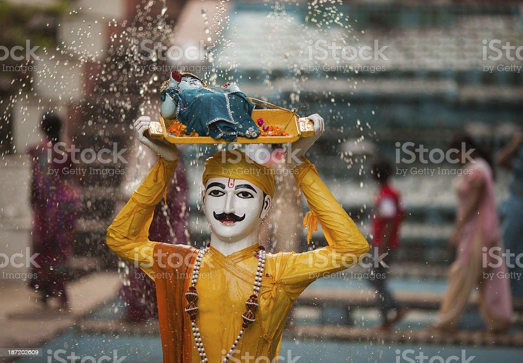 Indian Hindu Krishna statue stock photo