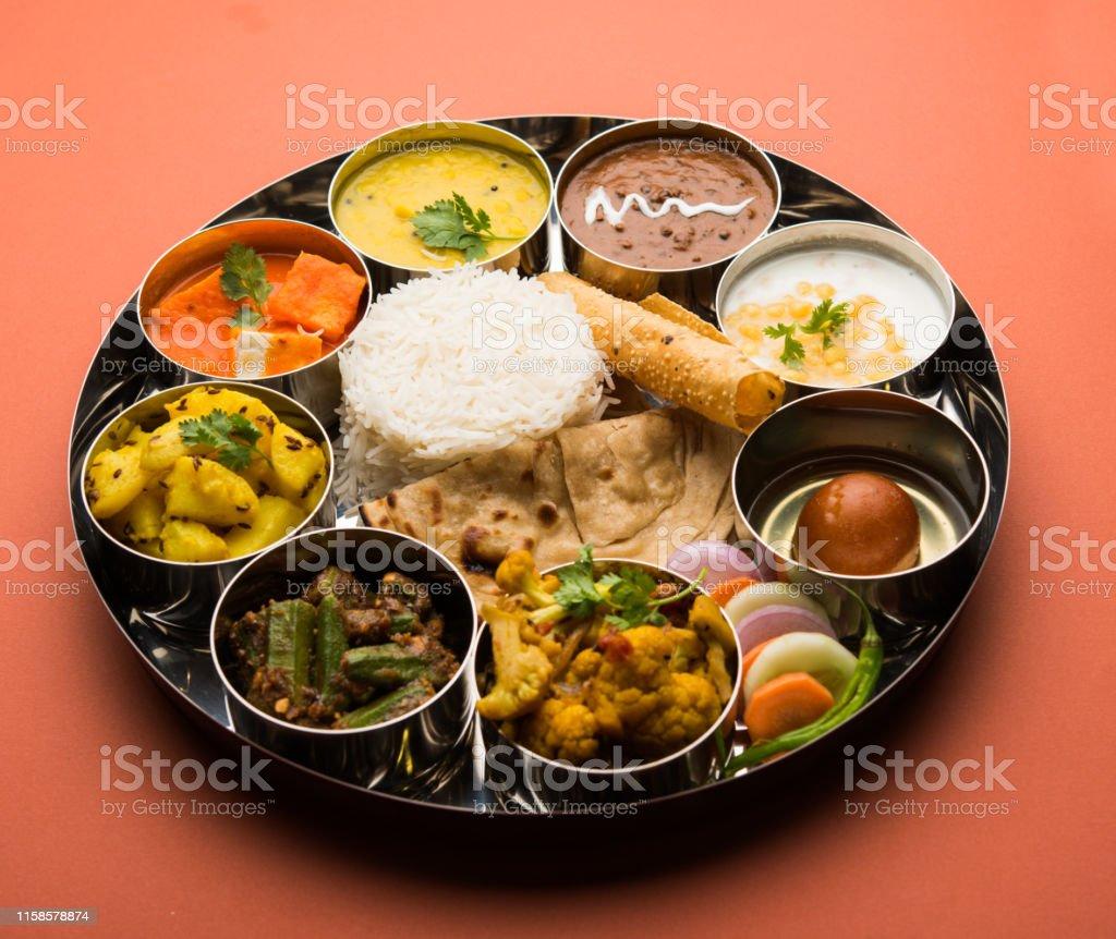 Indian Food Platter Hindu Veg Thali Selective Focus Stock Images Page Everypixel