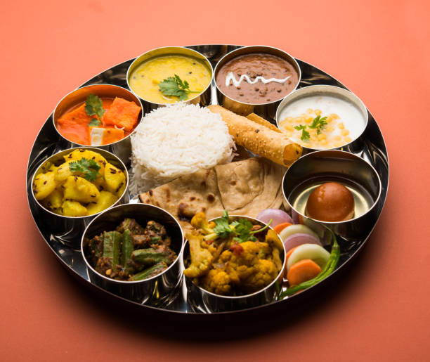 Indian Hindu Veg Thali / food platter, selective focus Indian Hindu Veg Thali / food platter, selective focus dal makhani stock pictures, royalty-free photos & images