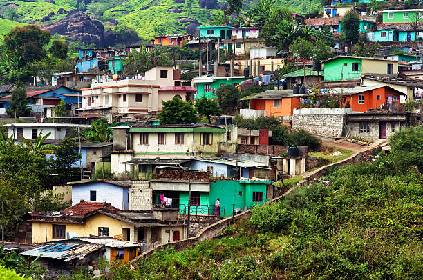 Indian houses on the hills stock photo