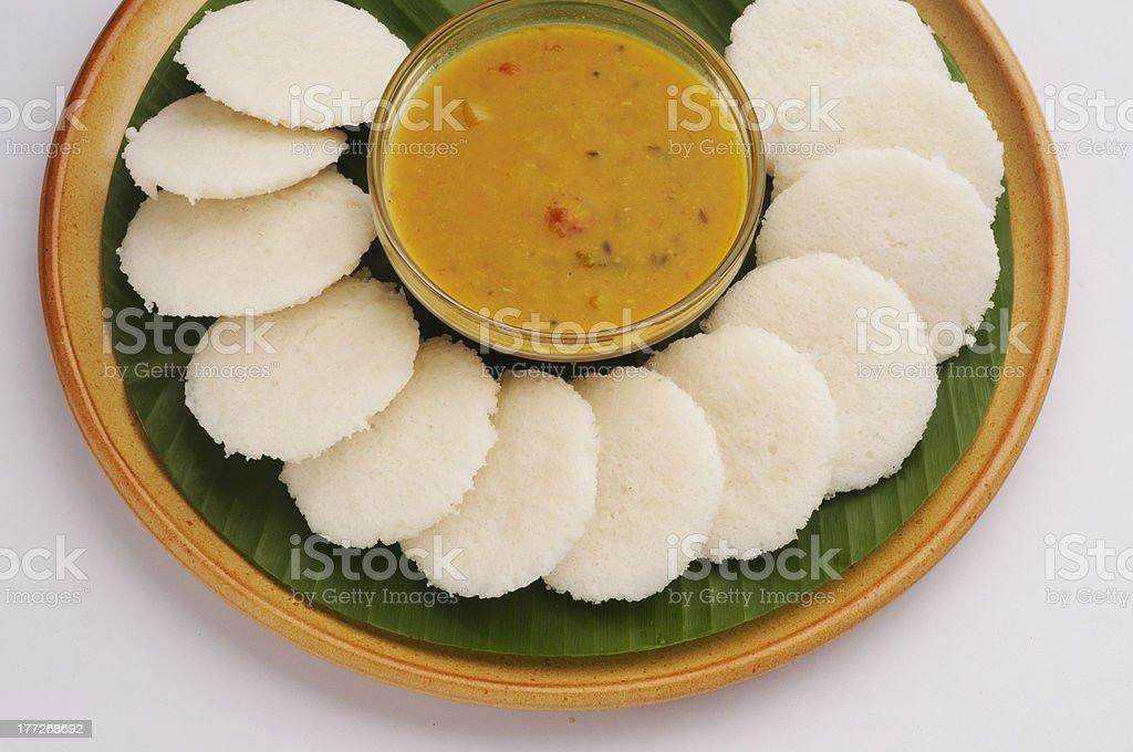 Indian idli with sambar stock photo