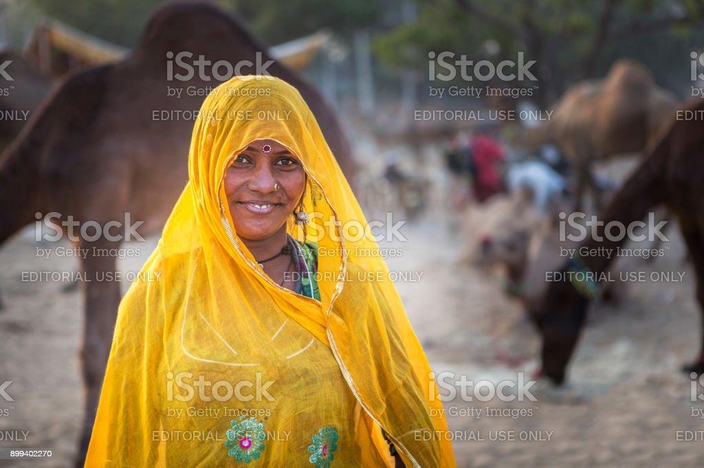 indian lady in pushkar fair stock photo