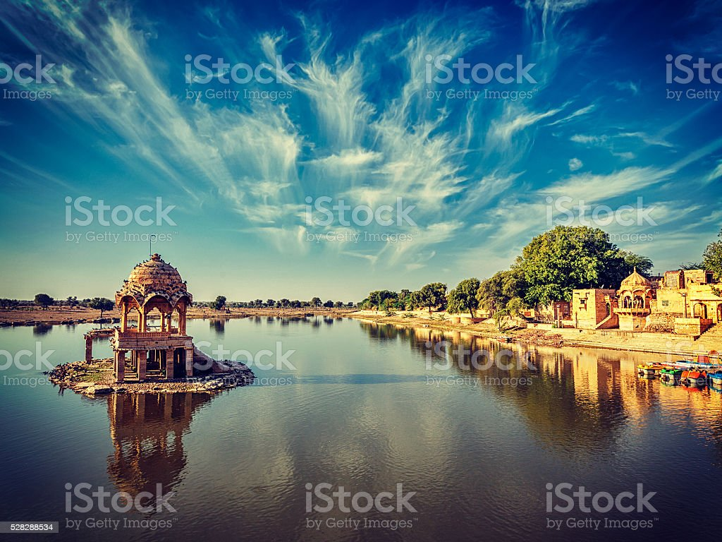 Indian landmark Gadi Sagar in Rajasthan stock photo