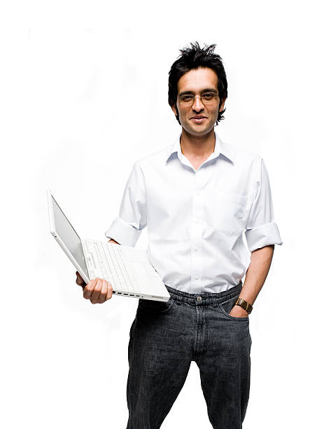 Indian Laptop Man stock photo